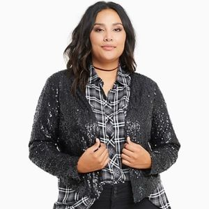 NWT Torrid Size 2 Drape Front Sequin Jacket